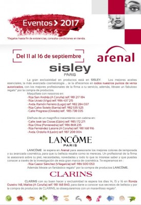 Eventos alta perfumería del 11 al 16 de septiembre.