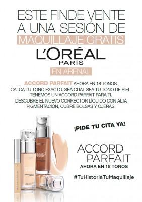 Maquillaje gratis con L'oréal: ACCORD PARFAIT, ahora en 18 tonos.