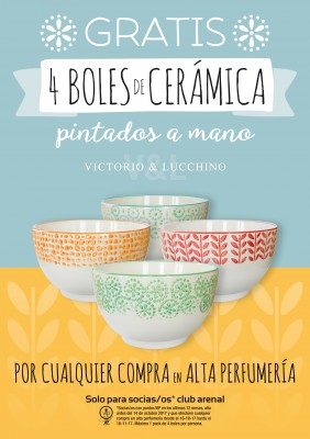 Club Vip Arenal: 4 boles cerámica Victorio & Lucchino gratis.