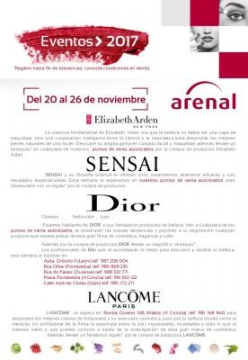 Eventos alta perfumería del 20 al 26 de noviembre: Elizabeth Arden, Sensai, Dior y Lancome.
