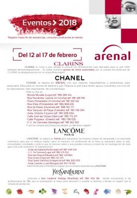 Eventos alta perfumería del 12 al 17 de febrero: Clarins, Chanel, Lancôme y Yves Saint Laurent.