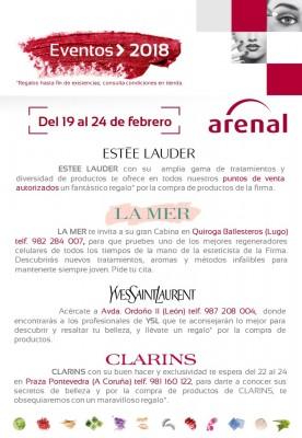 Eventos alta perfumería del 19 al 24 de febrero: Estée Lauder, La Mer, Yves Saint Laurent y Clarins.