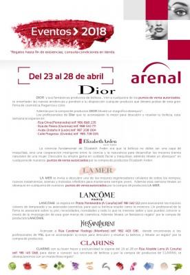 Eventos alta perfumería del 23 al 28 de abril: Dior, Elizabeth Arden, La Mer,  Lacôme, Yves Saint Laurent y Clarins.