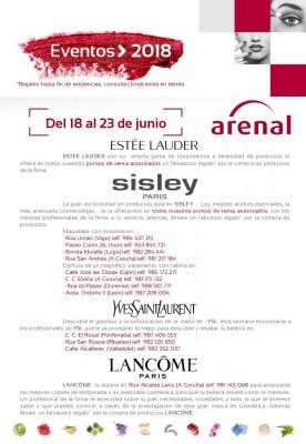 Eventos alta perfumería del 18 al 23 de junio: Estee Lauder, Sisley, Yves Saint Laurent y Lancome.
