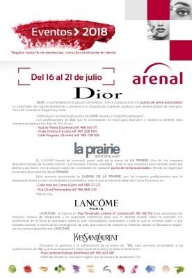 Eventos de alta perfumería del 16 al 21 de julio: Dior, La Prairie, Lancôme y Yves Saint Laurent.