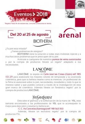 Eventos alta perfumería del 20 al 25 de agosto: Biotherm, Lancôme y Yves Saint Laurent.