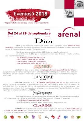 Eventos alta perfumería del 24 al 29 de septiembre: Dior, La Mer,  Lancôme, Yves Saint Laurent y Clarins.